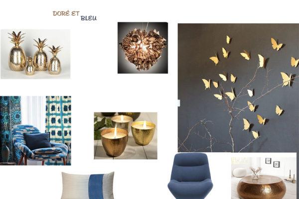 Planche de style Bleu royal gold par Samira Bouhenna, Décoratrice UFDI sur Gennevilliers, Saint Denis, et Paris 92 75 93