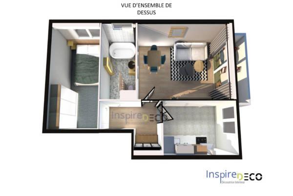 Décoration appartement rénovation, projet clé en main à Evry par Samira Bouhenna, Inspire Déco, Décoratrice UFDI à Paris et Hauts de Seine 75 92