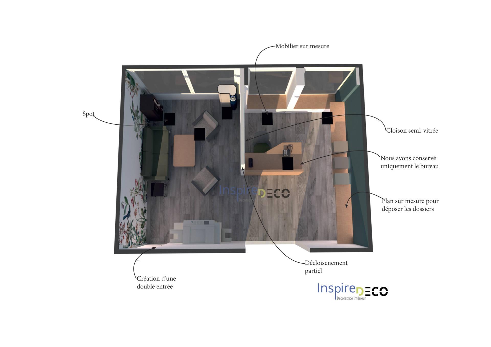 Vue 3D Agencement bureaux pour les professionnels Par Samira Bouhenna Inspire Déco UFDI Paris, hauts-de-seine 92